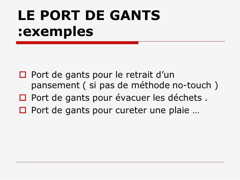 LE PORT DE GANTS :exemples