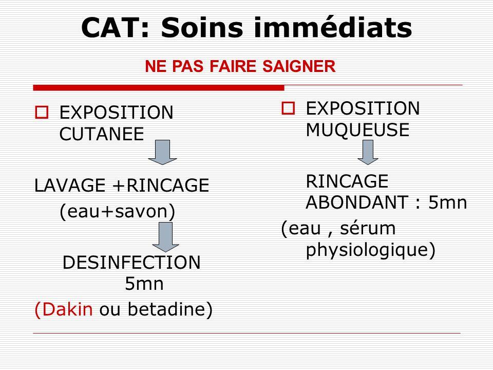 CAT: Soins immédiats EXPOSITION MUQUEUSE EXPOSITION CUTANEE