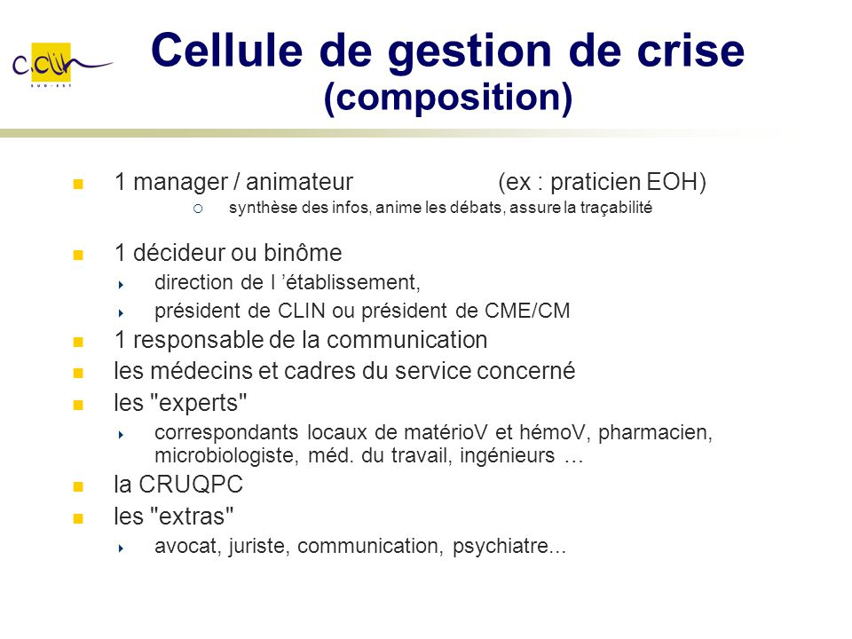Cellule de gestion de crise (composition)