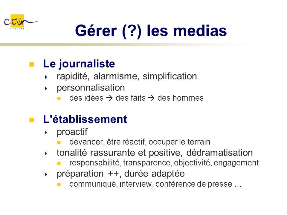 Gérer ( ) les medias Le journaliste L établissement