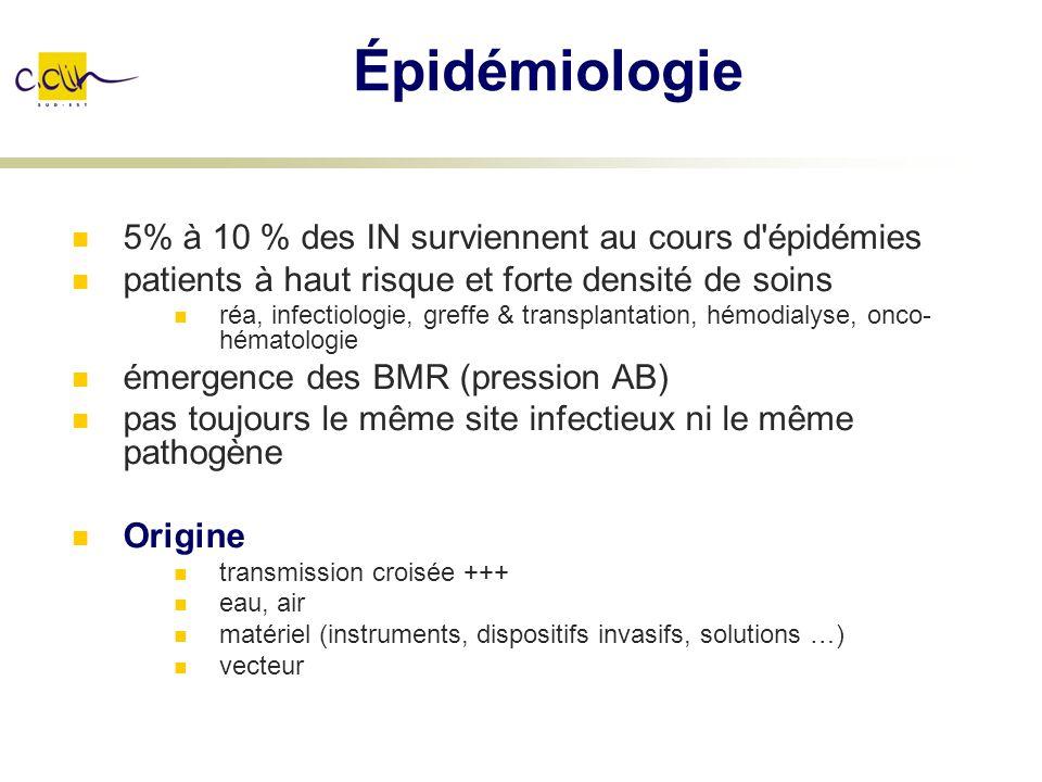 Épidémiologie 5% à 10 % des IN surviennent au cours d épidémies