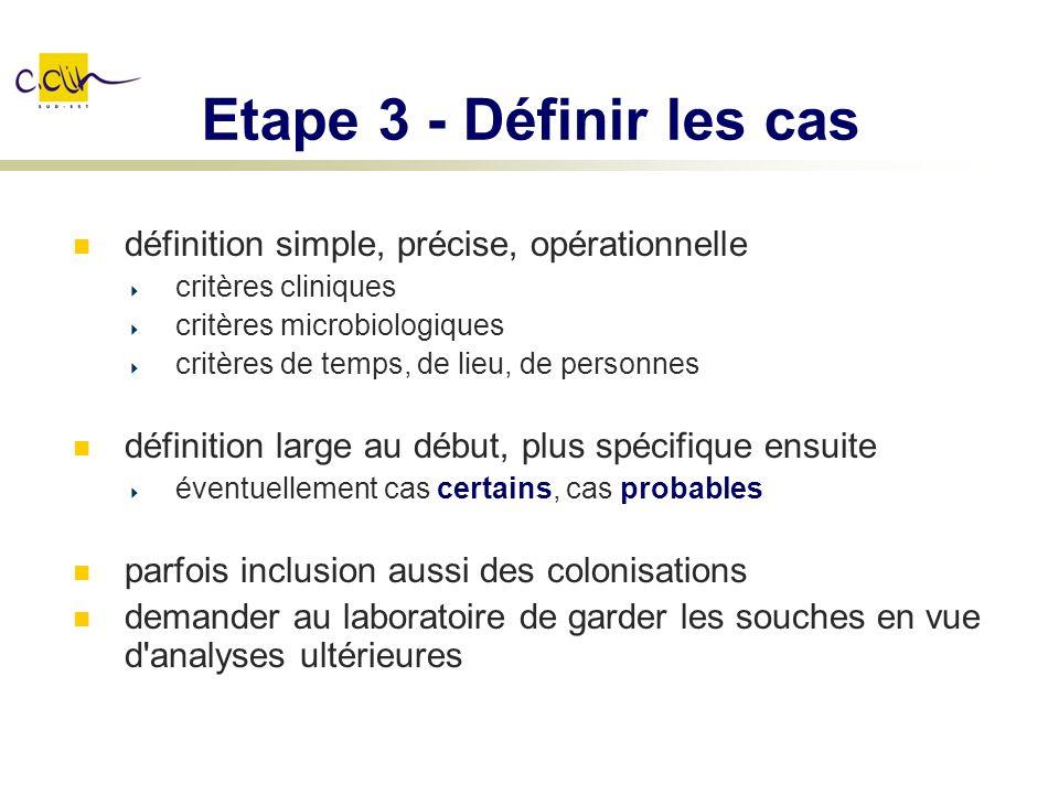 Etape 3 - Définir les cas définition simple, précise, opérationnelle