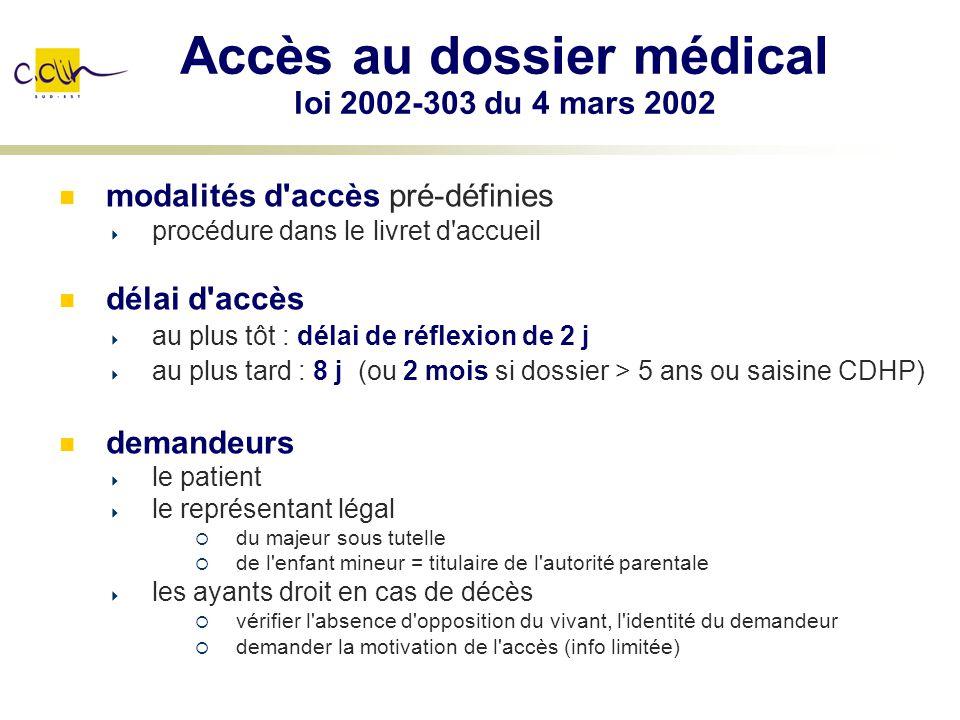 Accès au dossier médical loi 2002-303 du 4 mars 2002