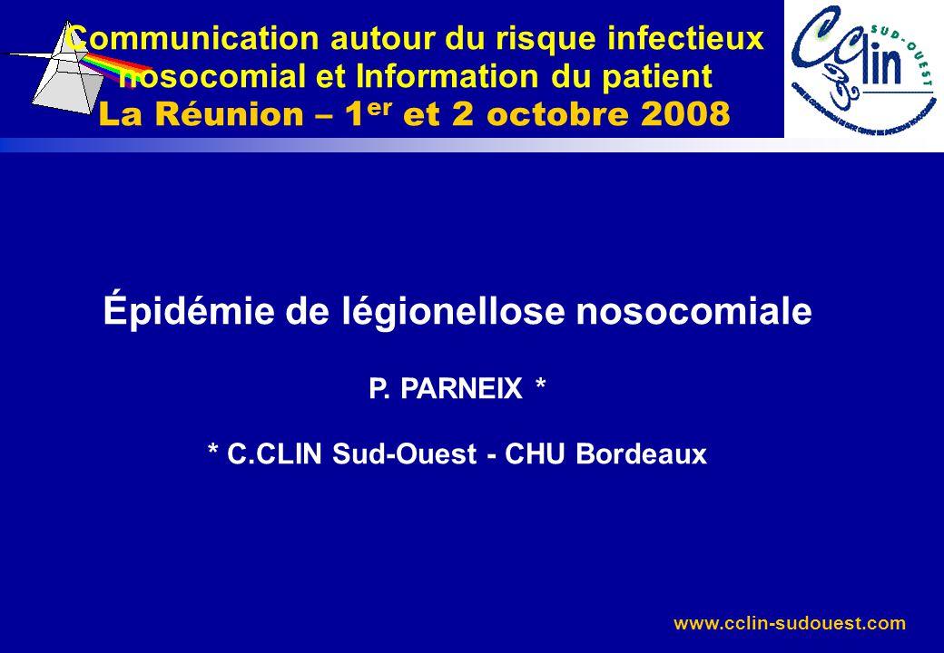 Communication autour du risque infectieux nosocomial et Information du patient La Réunion – 1er et 2 octobre 2008