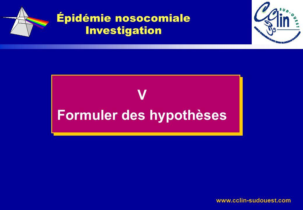 Épidémie nosocomiale Investigation Formuler des hypothèses