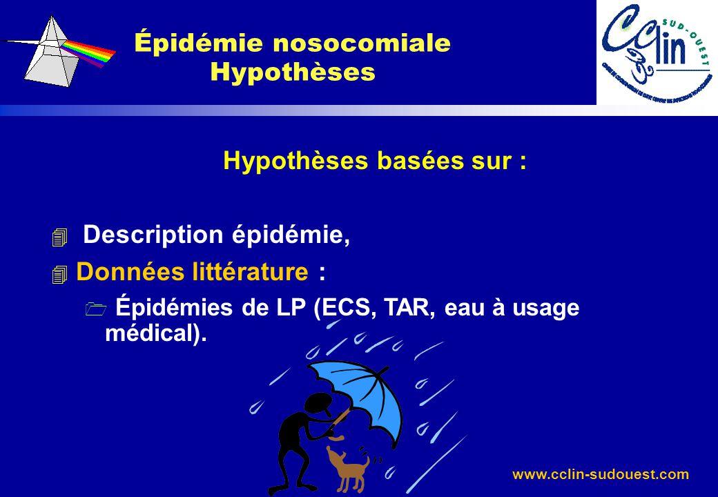 Épidémie nosocomiale Hypothèses