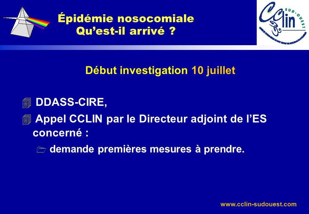Épidémie nosocomiale Qu'est-il arrivé Début investigation 10 juillet