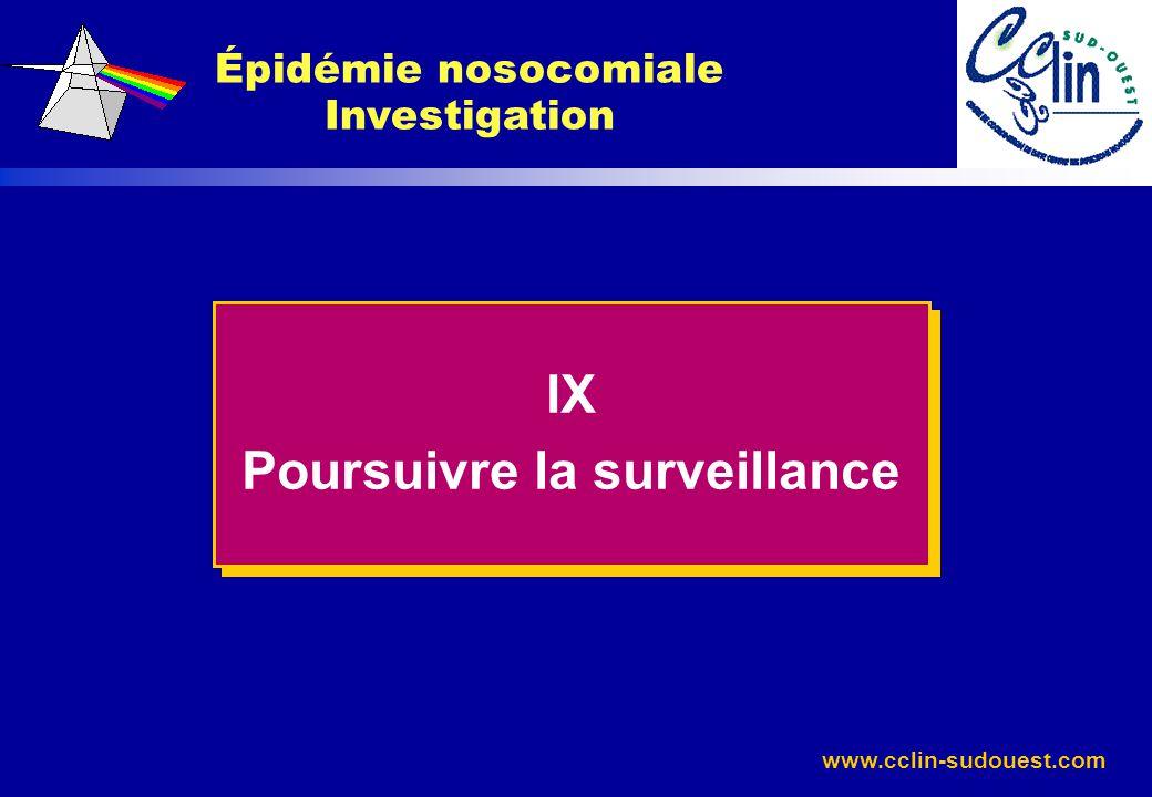 Épidémie nosocomiale Investigation Poursuivre la surveillance