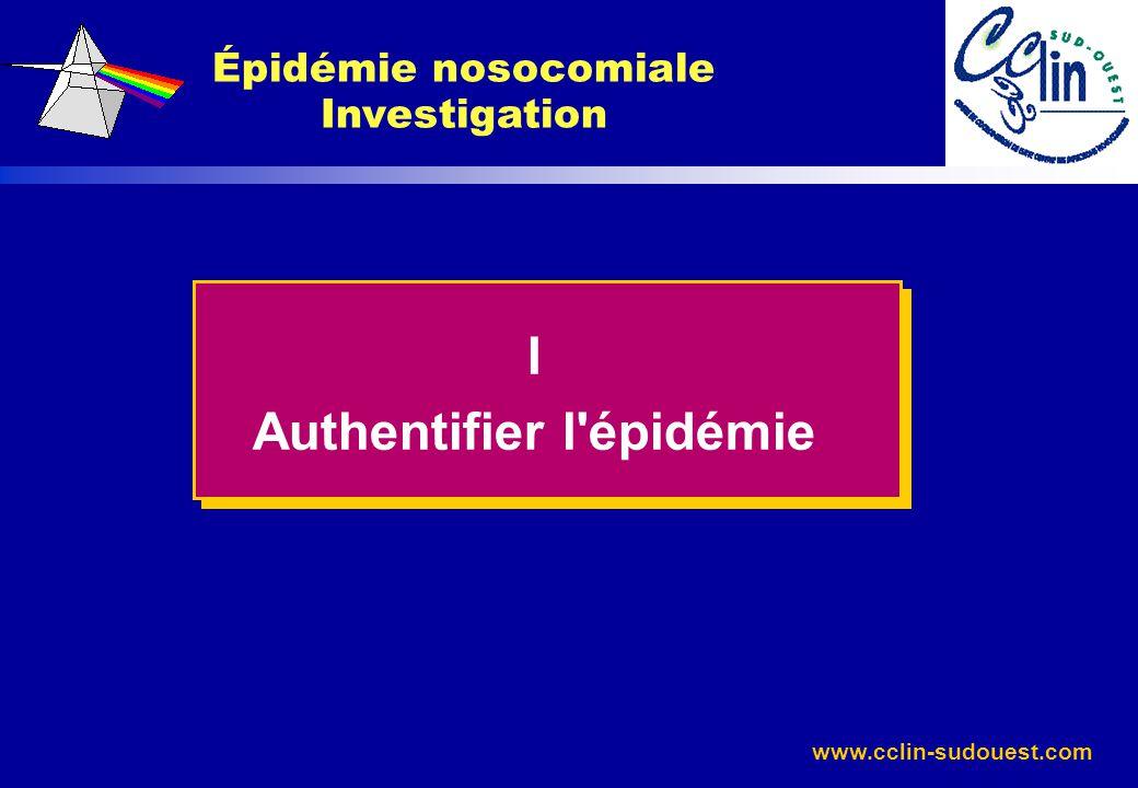 Épidémie nosocomiale Investigation Authentifier l épidémie