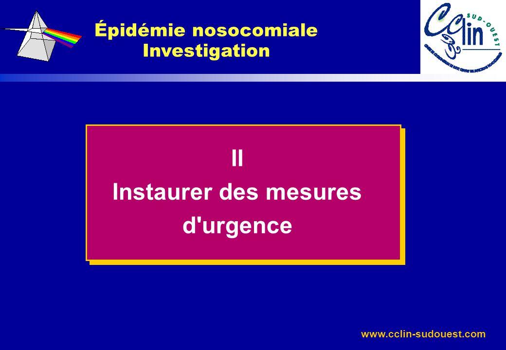 Épidémie nosocomiale Investigation