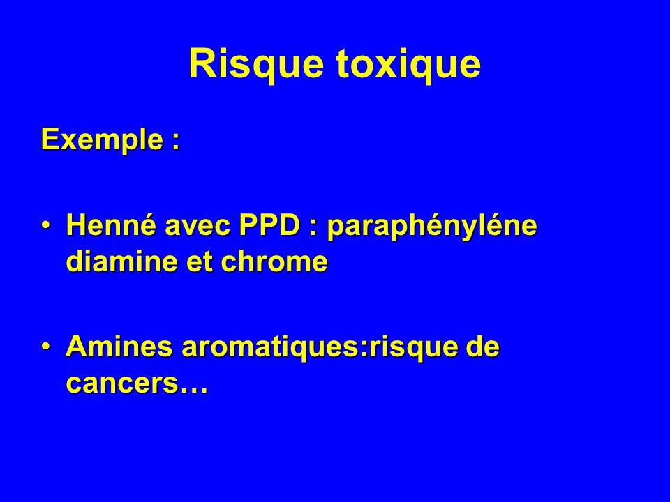 Risque toxique Exemple :