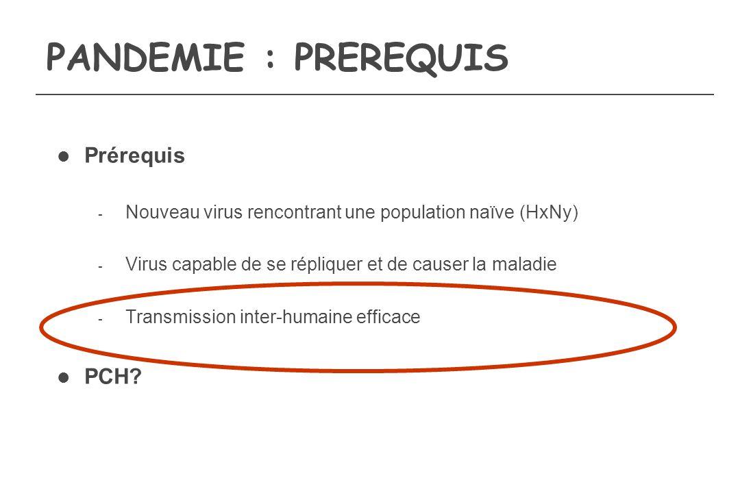PANDEMIE : PREREQUIS Prérequis PCH