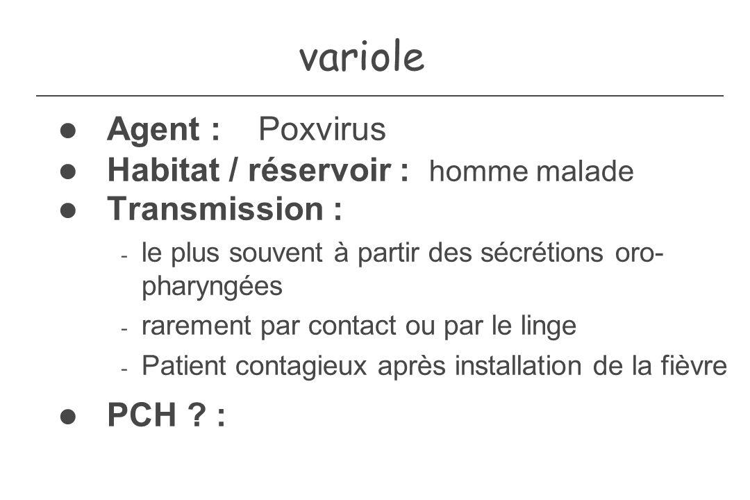 variole Agent : Poxvirus Habitat / réservoir : homme malade