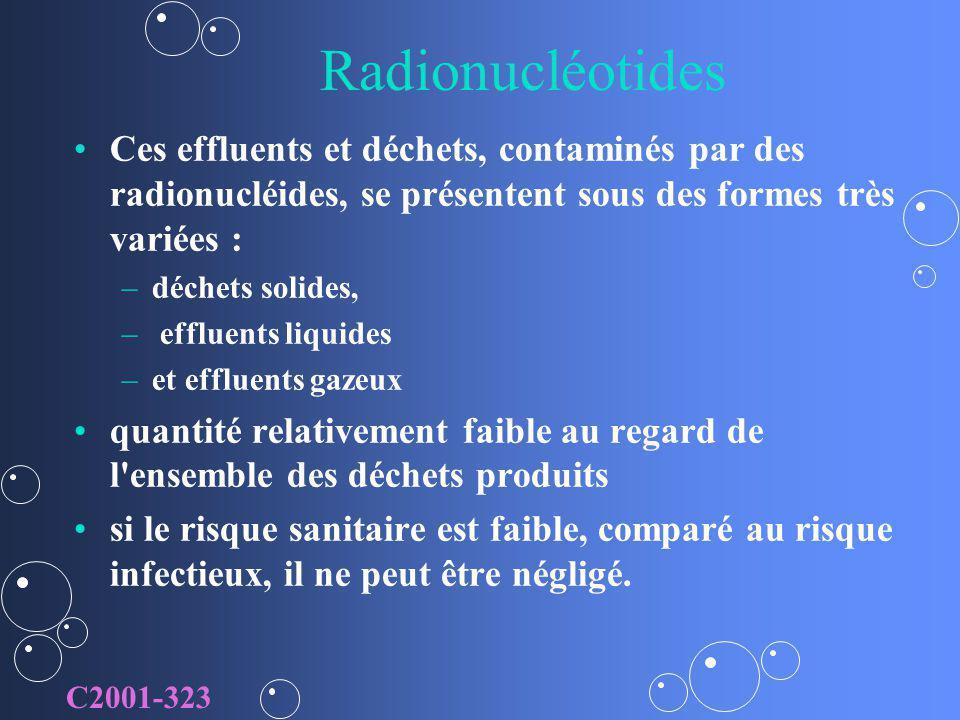 Radionucléotides Ces effluents et déchets, contaminés par des radionucléides, se présentent sous des formes très variées :