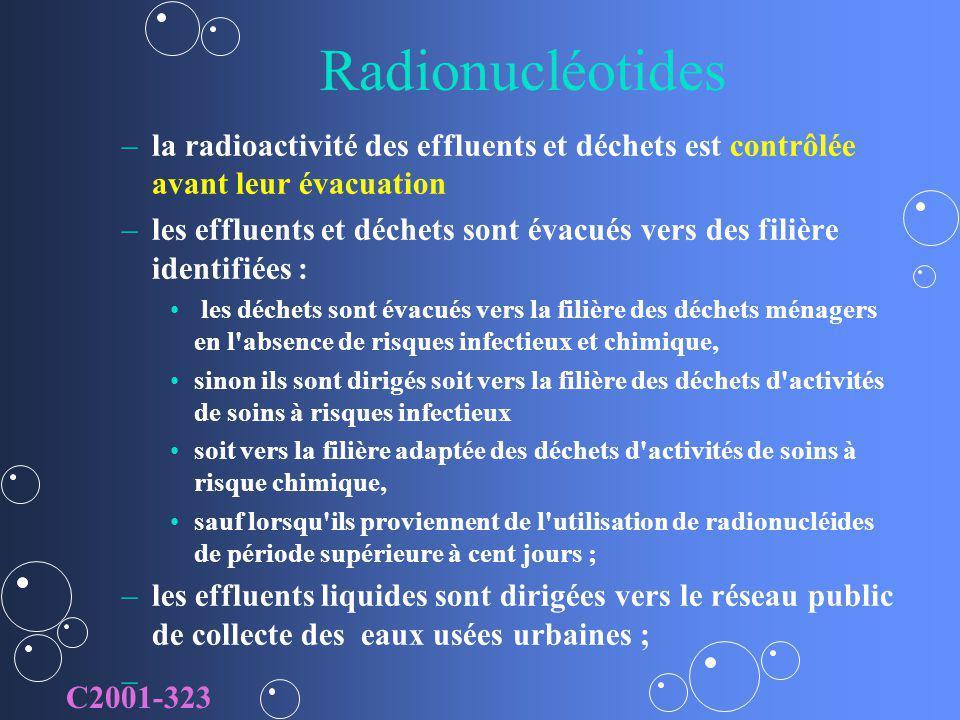 Radionucléotides la radioactivité des effluents et déchets est contrôlée avant leur évacuation.