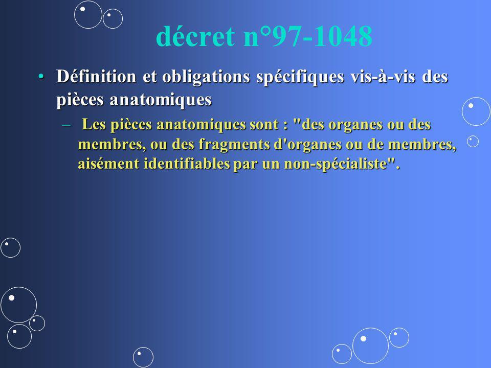 décret n°97-1048 Définition et obligations spécifiques vis-à-vis des pièces anatomiques.