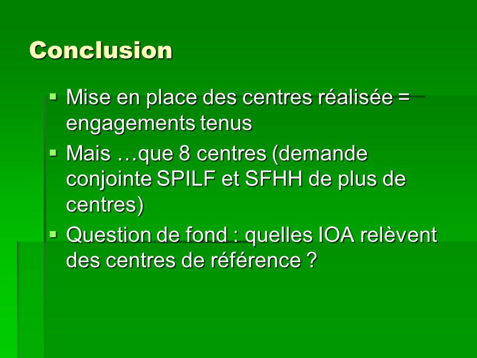 Conclusion Mise en place des centres réalisée = engagements tenus
