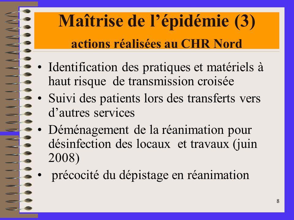 Maîtrise de l'épidémie (3) actions réalisées au CHR Nord