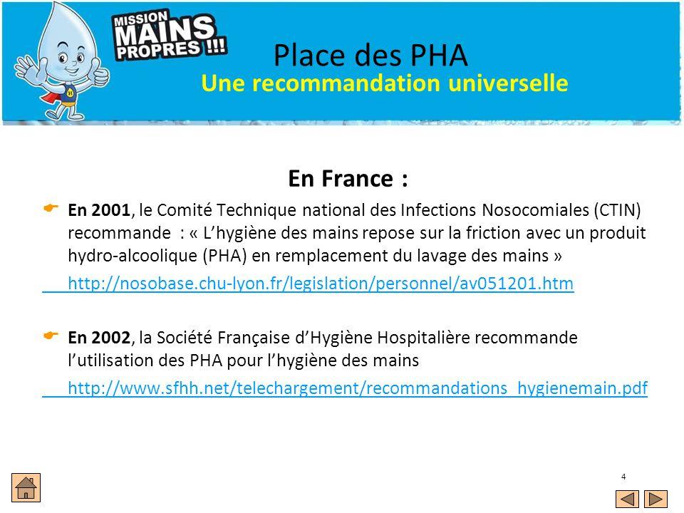 Place des PHA Une recommandation universelle En France :