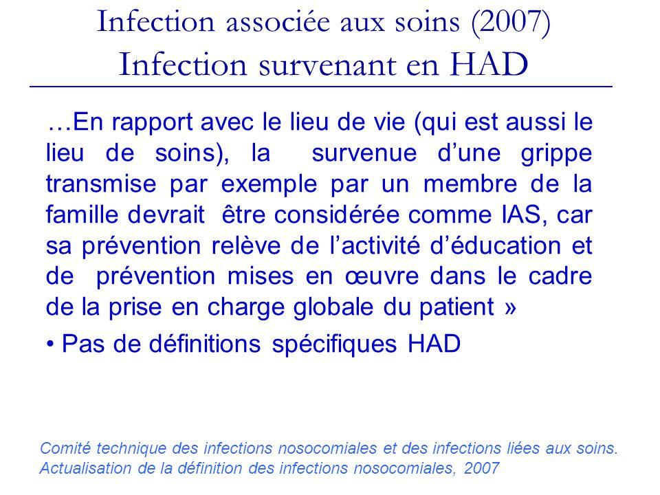 Infection associée aux soins (2007) Infection survenant en HAD