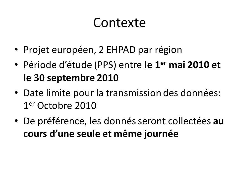 Contexte Projet européen, 2 EHPAD par région