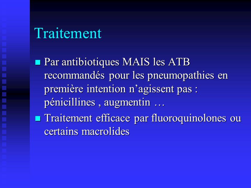 Traitement Par antibiotiques MAIS les ATB recommandés pour les pneumopathies en première intention n'agissent pas : pénicillines , augmentin …