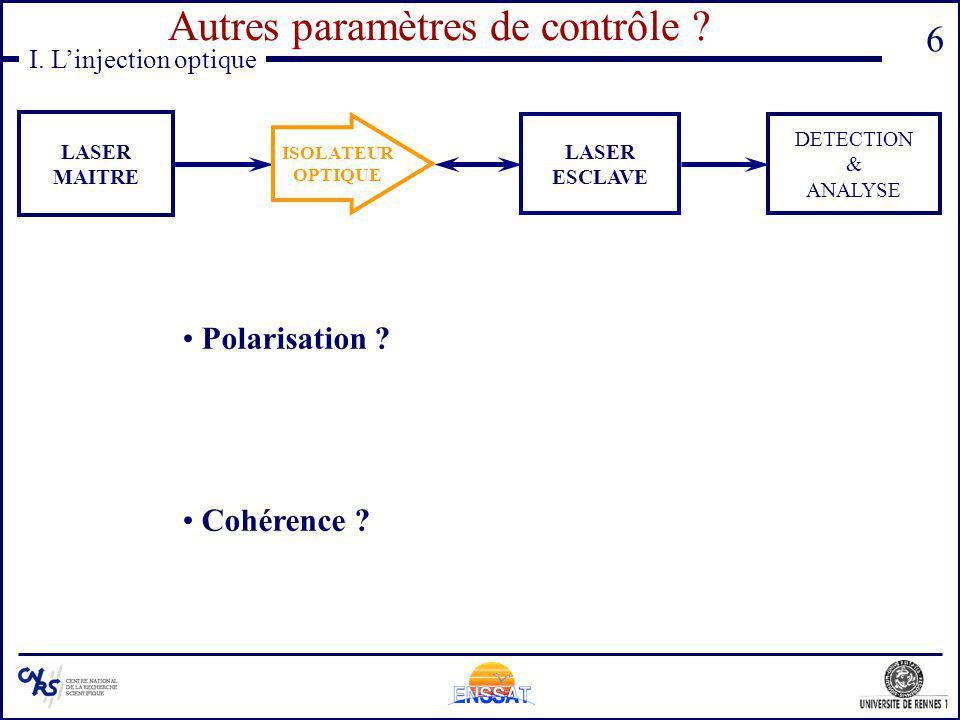 Autres paramètres de contrôle