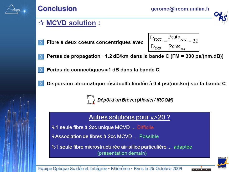 Dépôt d'un Brevet (Alcatel / IRCOM)