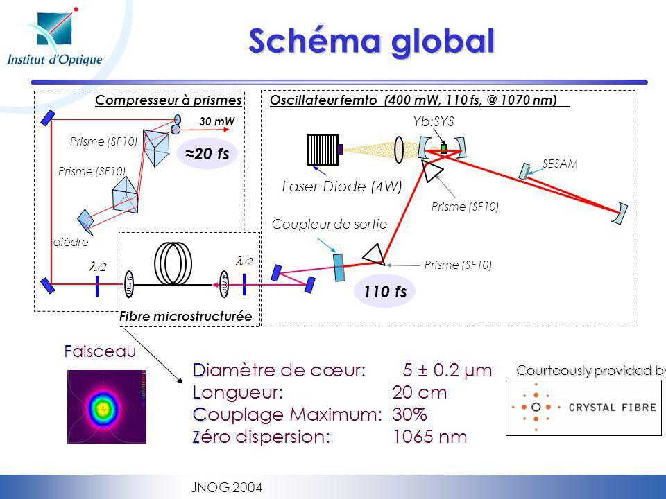 Schéma global Diamètre de cœur: 5 ± 0.2 µm Longueur: 20 cm