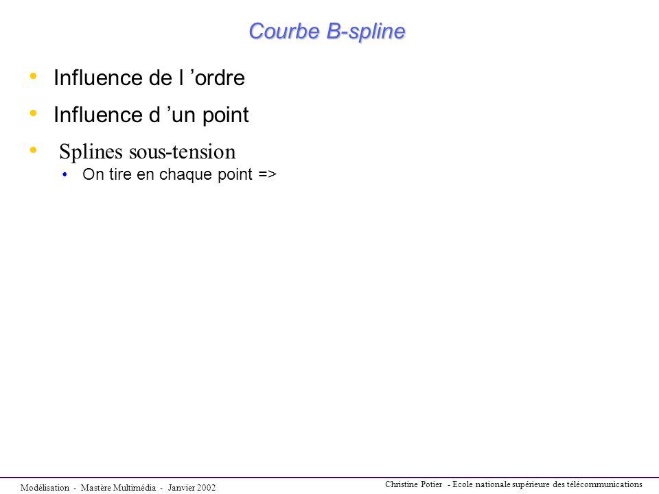 Courbe B-spline Influence de l 'ordre Influence d 'un point