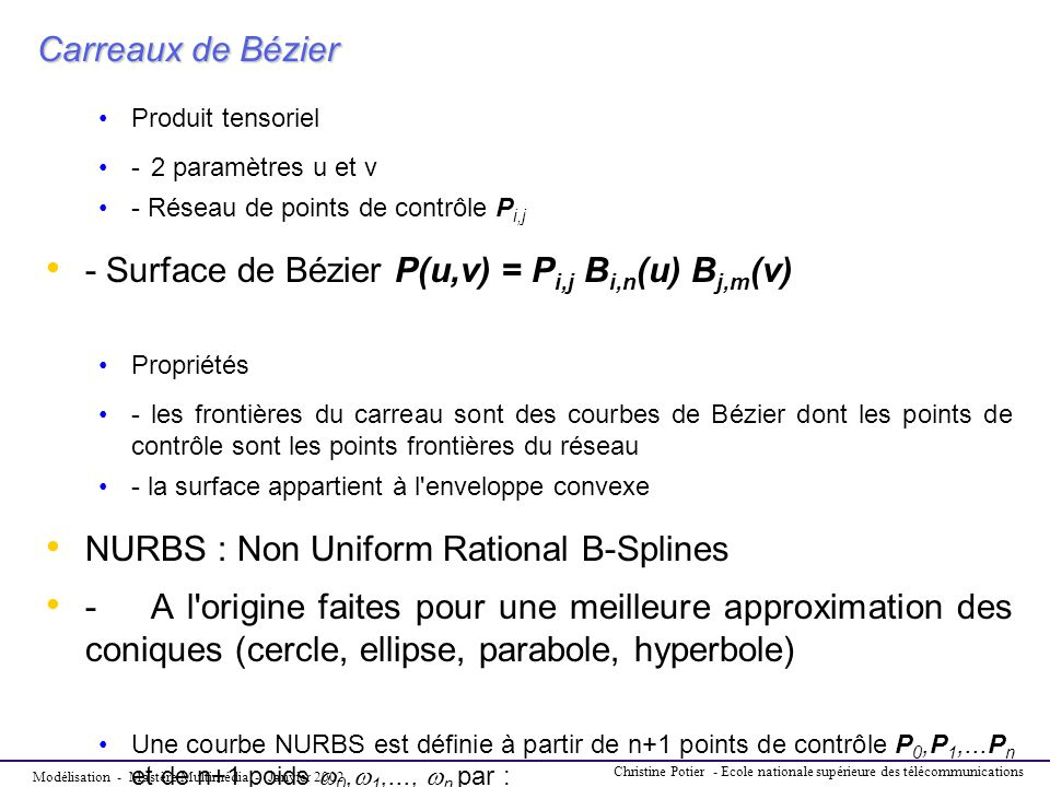 - Surface de Bézier P(u,v) = Pi,j Bi,n(u) Bj,m(v)