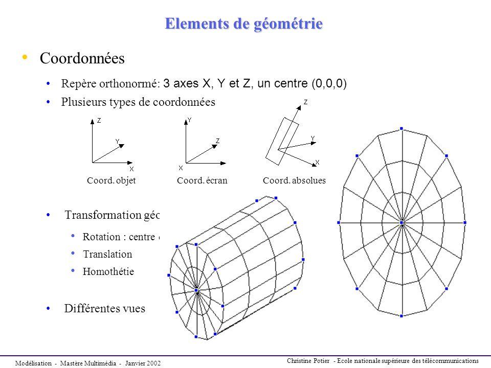 Elements de géométrie Coordonnées