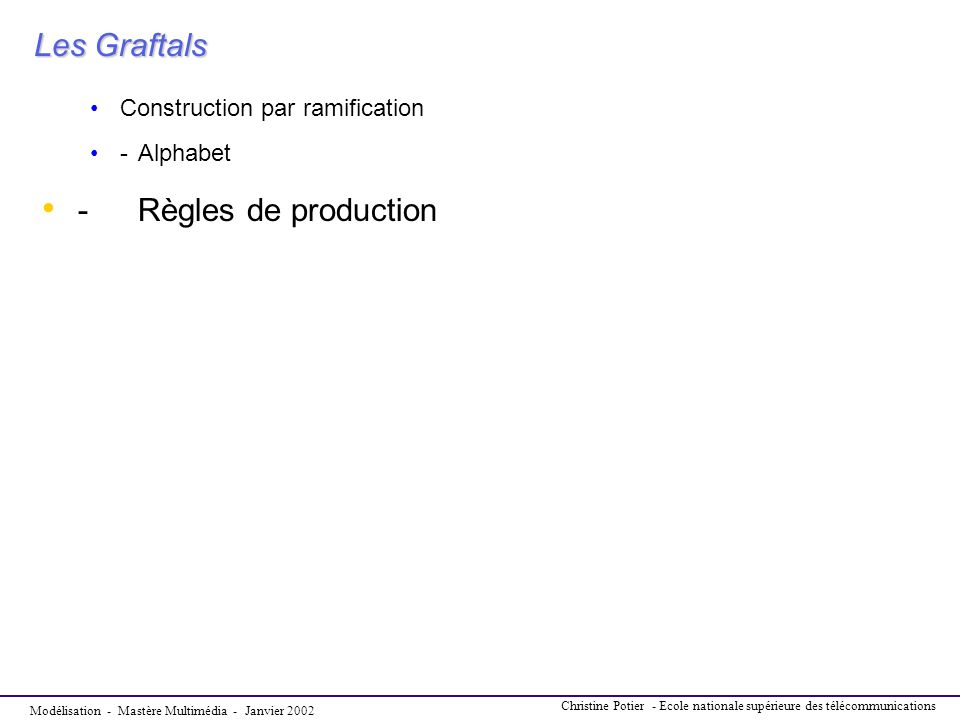 Les Graftals - Règles de production Construction par ramification