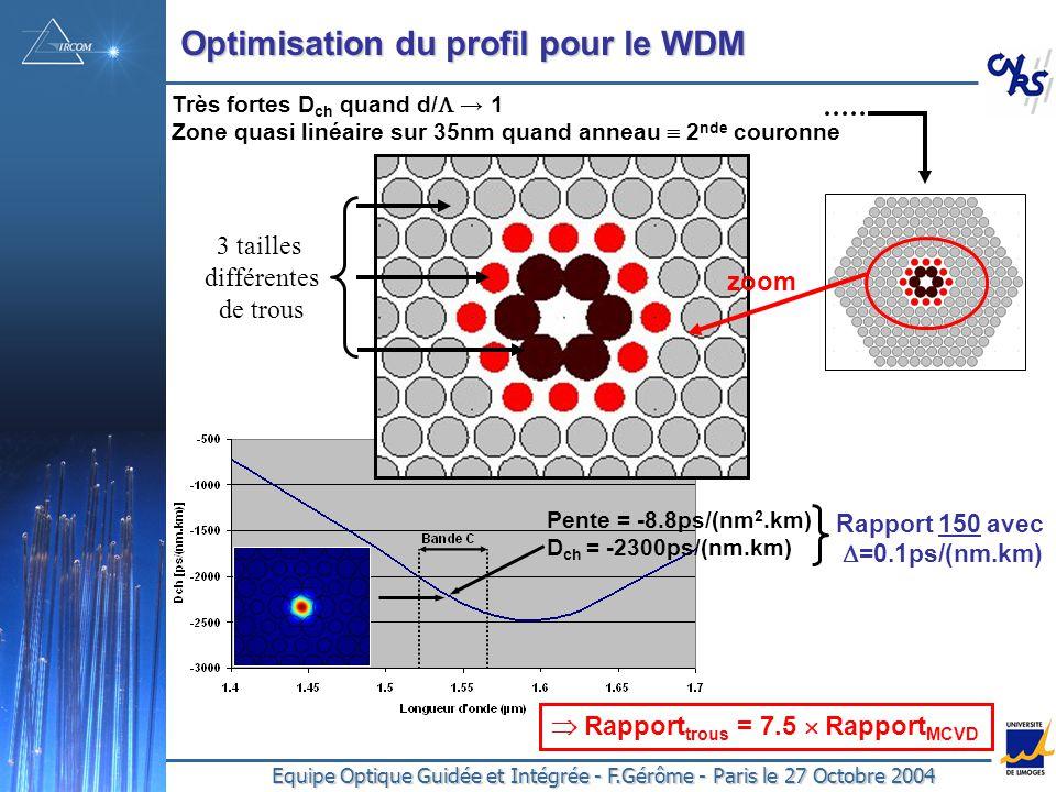Optimisation du profil pour le WDM