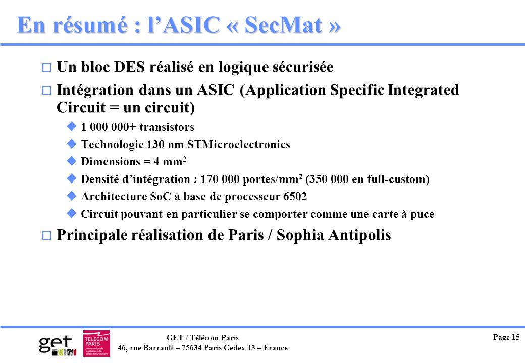 En résumé : l'ASIC « SecMat »