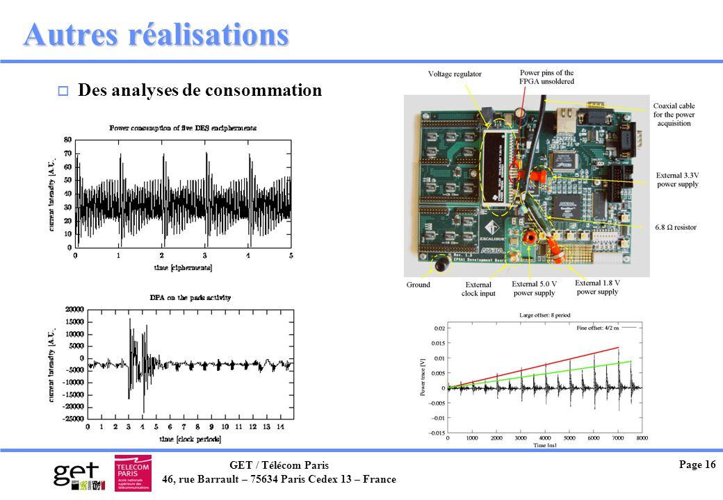 Autres réalisations Des analyses de consommation Page 16