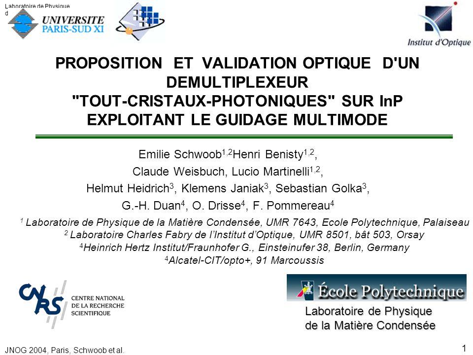 PROPOSITION ET VALIDATION OPTIQUE D UN DEMULTIPLEXEUR TOUT-CRISTAUX-PHOTONIQUES SUR InP EXPLOITANT LE GUIDAGE MULTIMODE