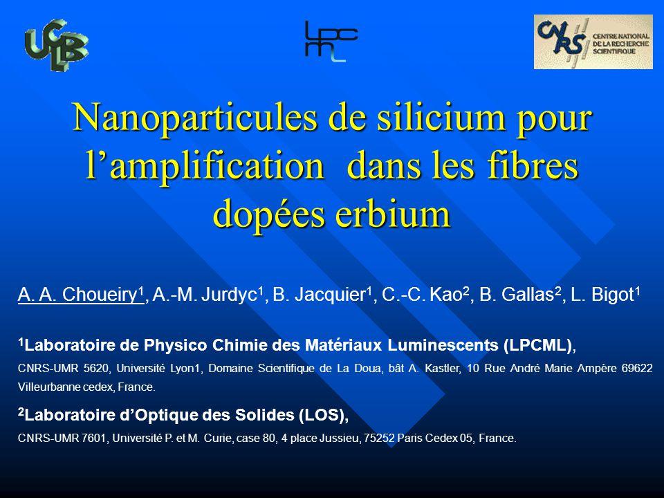 Introduction Nanoparticules de silicium pour l'amplification dans les fibres dopées erbium.