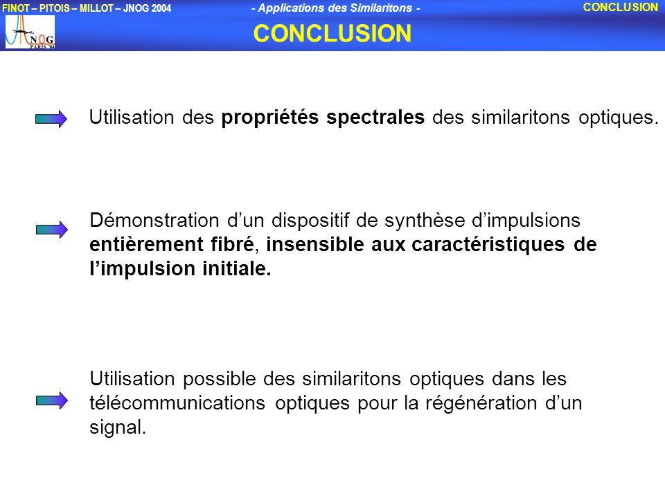CONCLUSION CONCLUSION. Utilisation des propriétés spectrales des similaritons optiques.