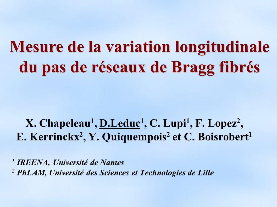 Mesure de la variation longitudinale du pas de réseaux de Bragg fibrés
