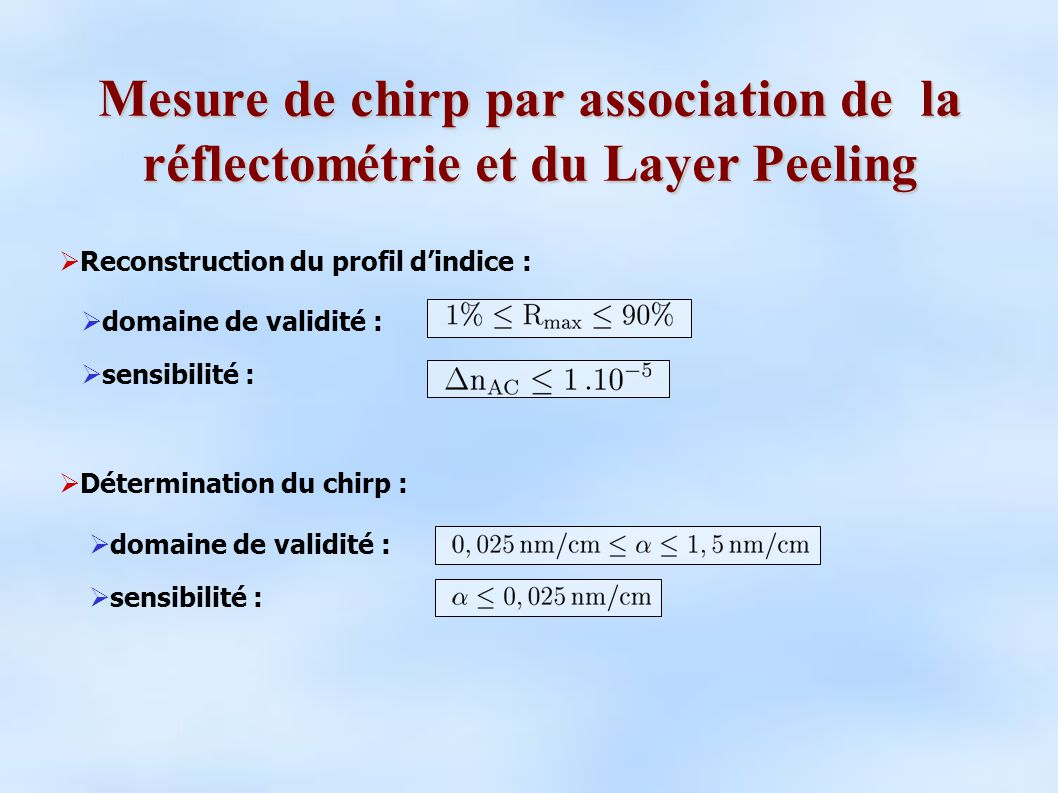 Mesure de chirp par association de la réflectométrie et du Layer Peeling