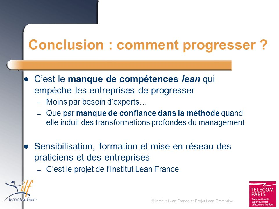 Conclusion : comment progresser