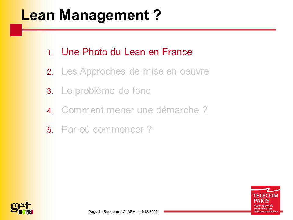 Lean Management Une Photo du Lean en France