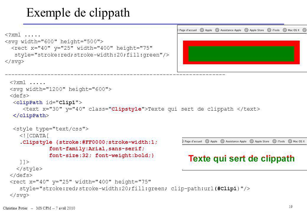 Exemple de clippath < xml .....