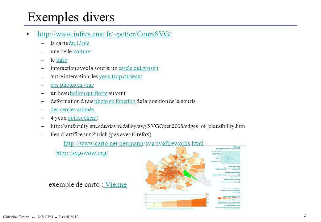 Exemples divers http://www.infres.enst.fr/~potier/CoursSVG/