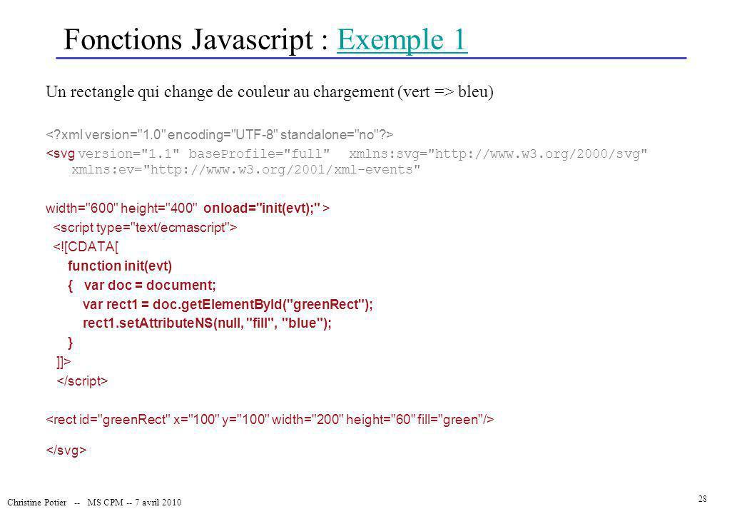 Fonctions Javascript : Exemple 1