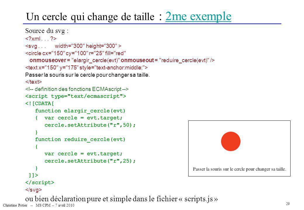 Un cercle qui change de taille : 2me exemple
