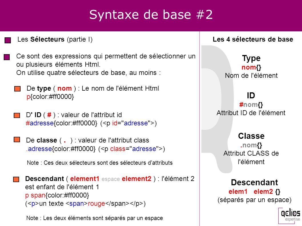 Syntaxe de base #2 Type ID Classe Descendant Les Sélecteurs (partie I)