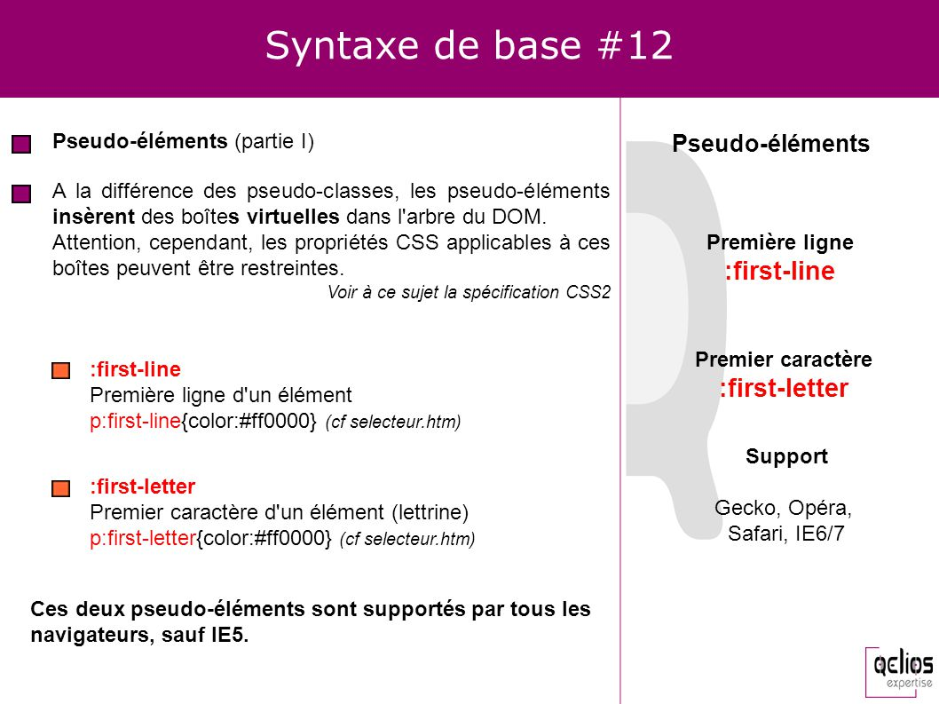Syntaxe de base #12 :first-line :first-letter Pseudo-éléments