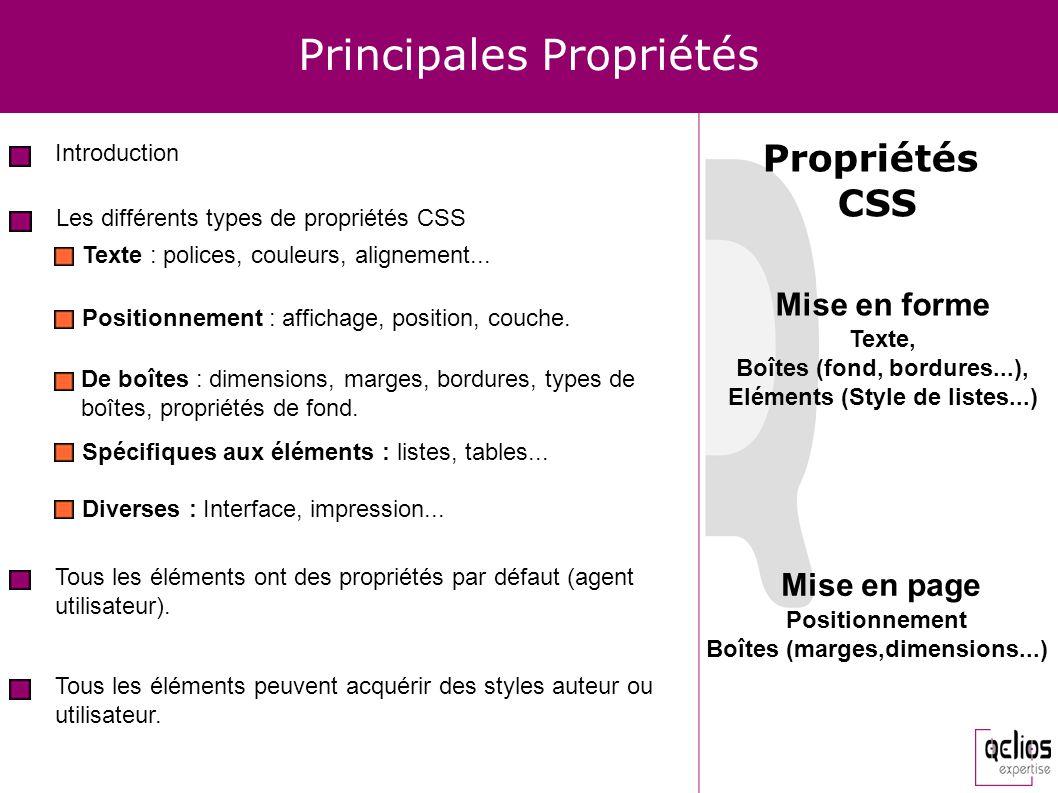 Principales Propriétés